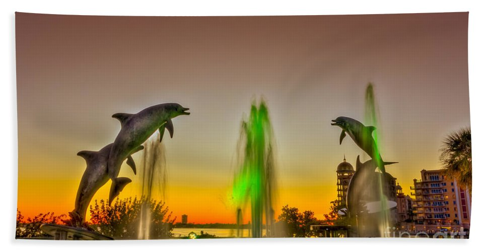 Dolphins Hand Towel featuring the photograph Sunset Dolphins by Marvin Spates