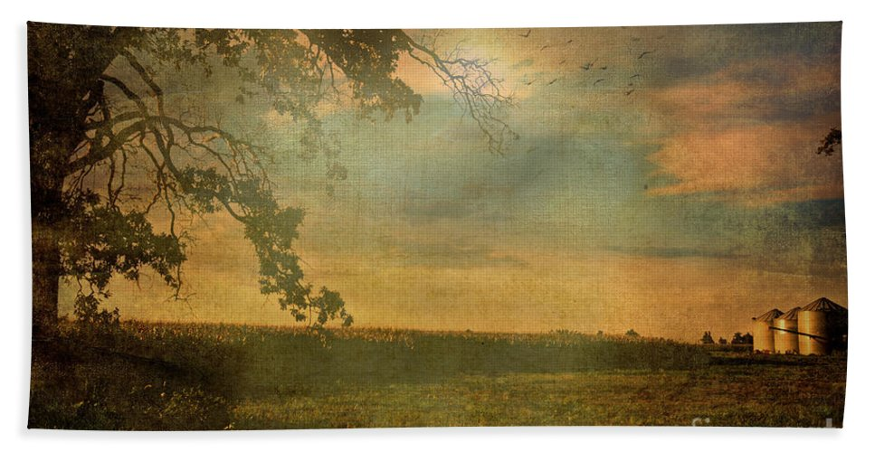 Nature Hand Towel featuring the photograph Sunset Farmland by Debbie Portwood