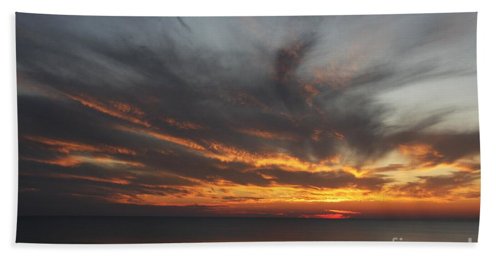 Sunset Hand Towel featuring the photograph Sunset Fiery Sky by Christiane Schulze Art And Photography