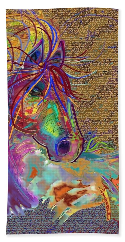 Horse Hand Towel featuring the painting Sunset Flash by Marie Clark