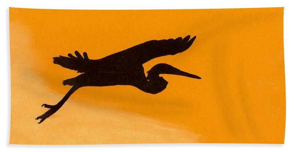 Heron Hand Towel featuring the drawing Sunset Flight by D Hackett
