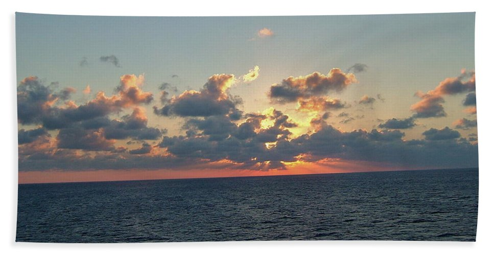 Carnival Triumph Bath Sheet featuring the photograph Sunset From The Carnival Triumph by Susan Wyman