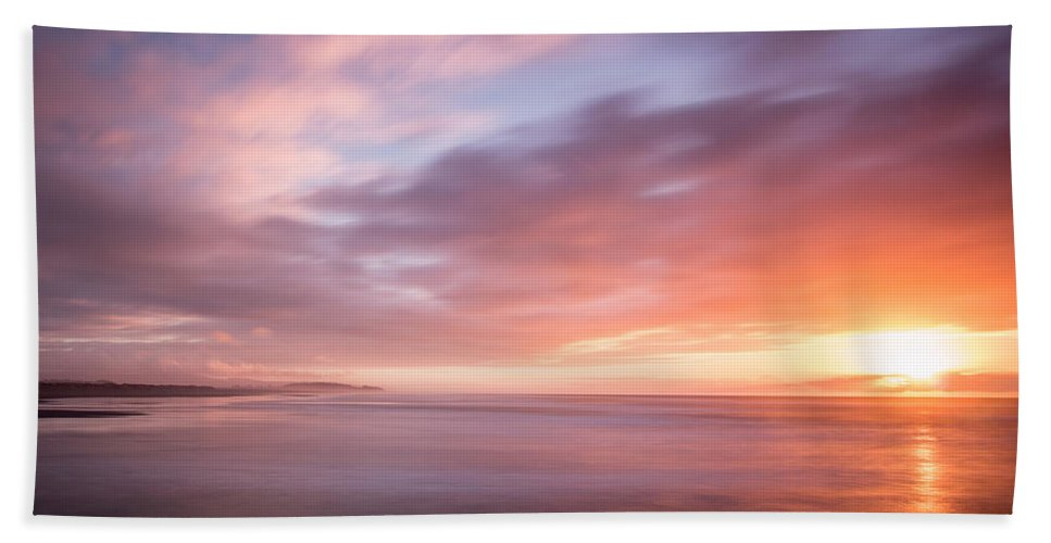 Sunset Hand Towel featuring the photograph Sunset From The South Jetty by Greg Nyquist