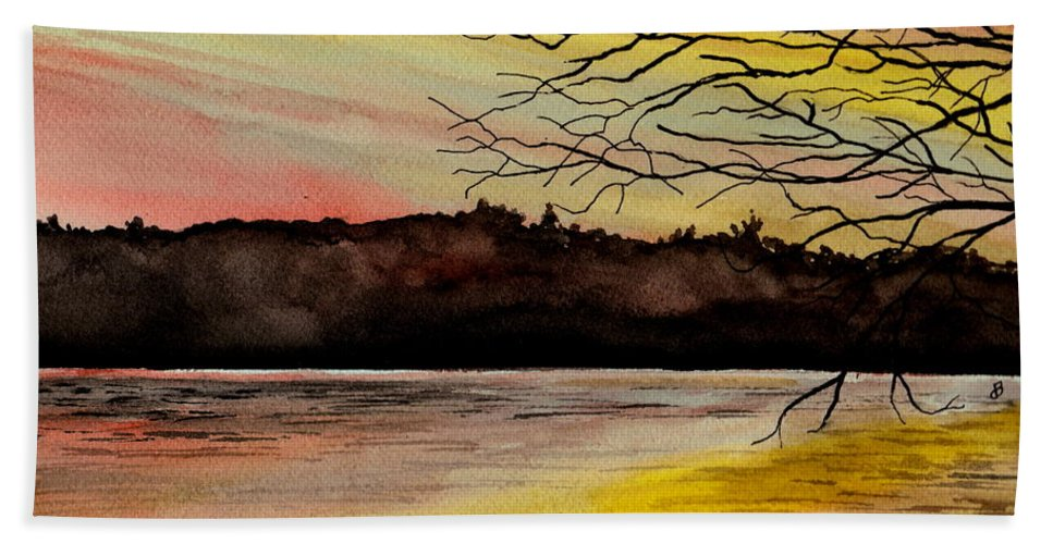Landscape Hand Towel featuring the painting Sunset Glory by Brenda Owen