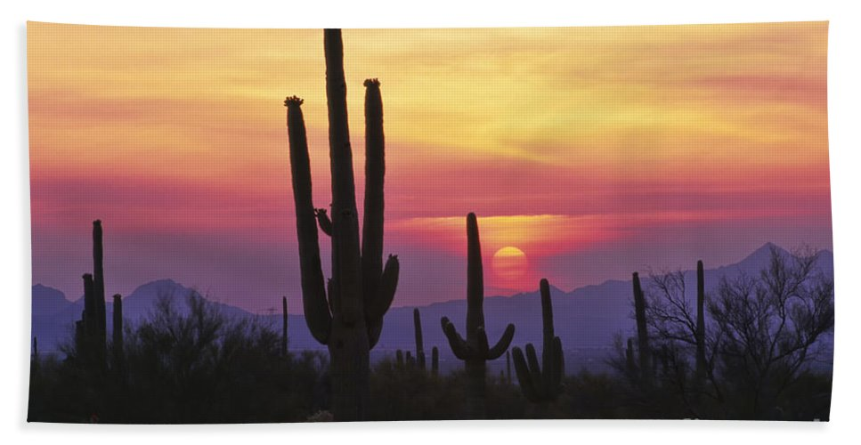 Southwest Bath Sheet featuring the photograph Sunset Glory by Sandra Bronstein