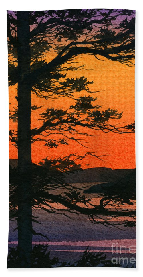 Landscape Fine Art Print Hand Towel featuring the painting Sunset Glow by James Williamson