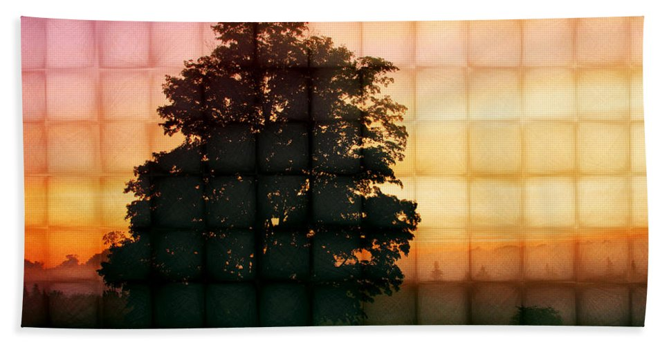 Tree Hand Towel featuring the photograph Sunset Grid 2 by John Cardamone