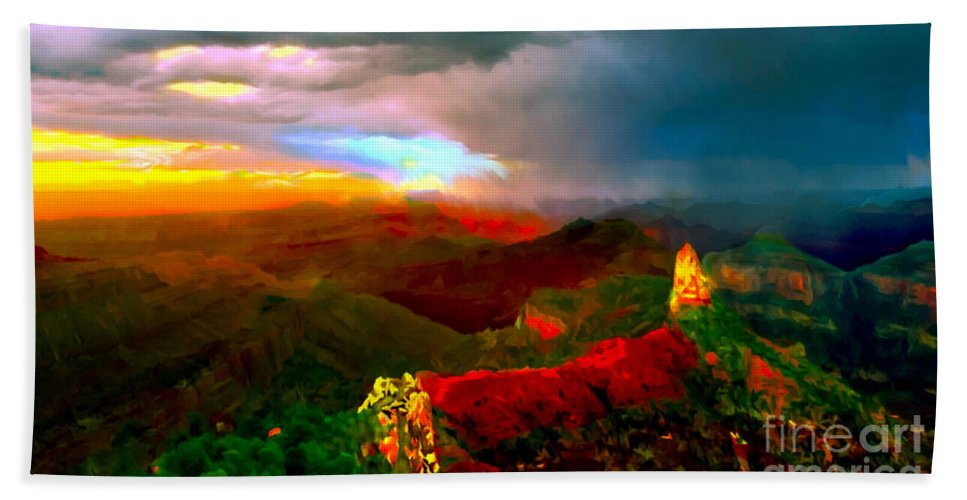 Cafe Art Hand Towel featuring the painting Sunset Imperial Peak North Grand Canyon Panorama by Bob and Nadine Johnston