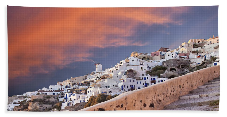 Greece Bath Sheet featuring the photograph sunset in Oia Santorini by Sophie McAulay