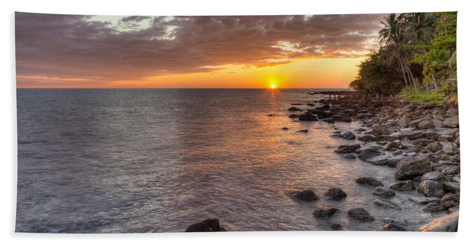 Sunset Hand Towel featuring the photograph Sunset In Paradise by Alexey Stiop
