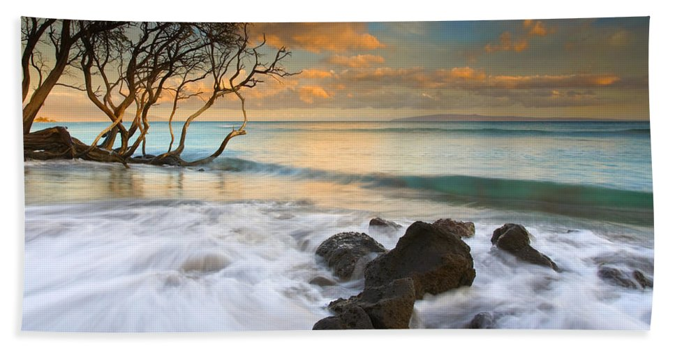 Sunset Bath Sheet featuring the photograph Sunset In Paradise by Mike Dawson