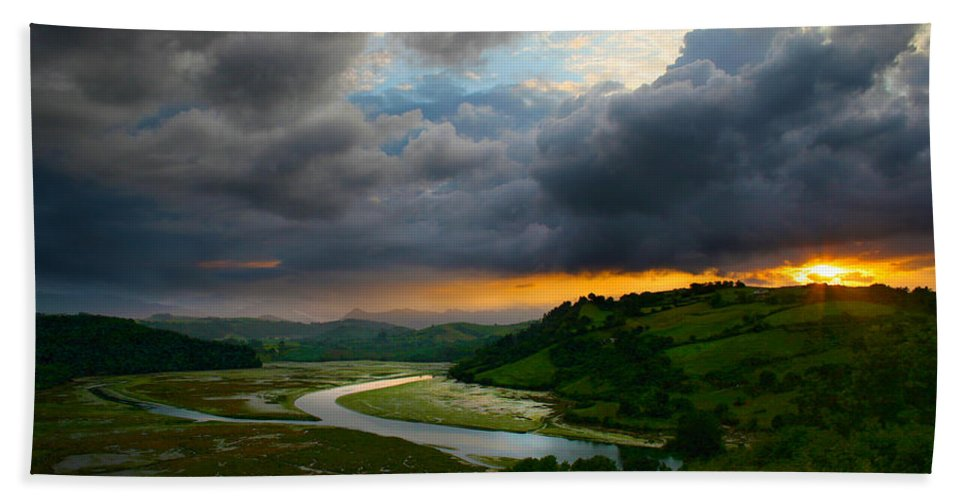 Spain Hand Towel featuring the photograph Sunset In Spain 2 by Tom Kostro