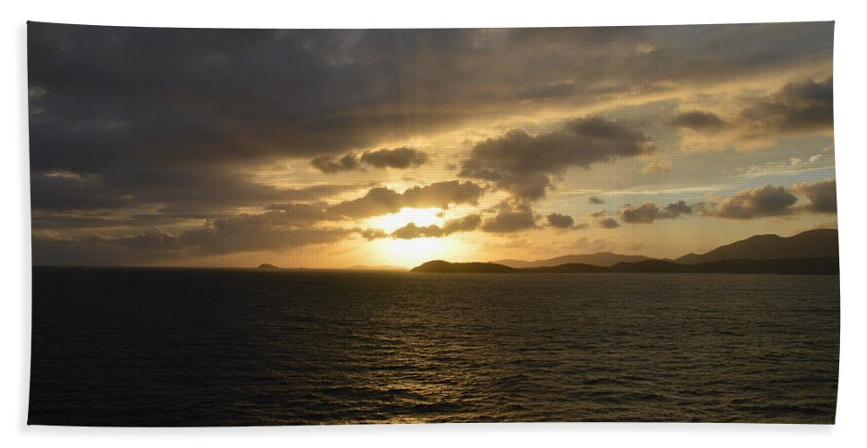 Caribbean Hand Towel featuring the photograph Sunset In The Caribbean by Richard Booth