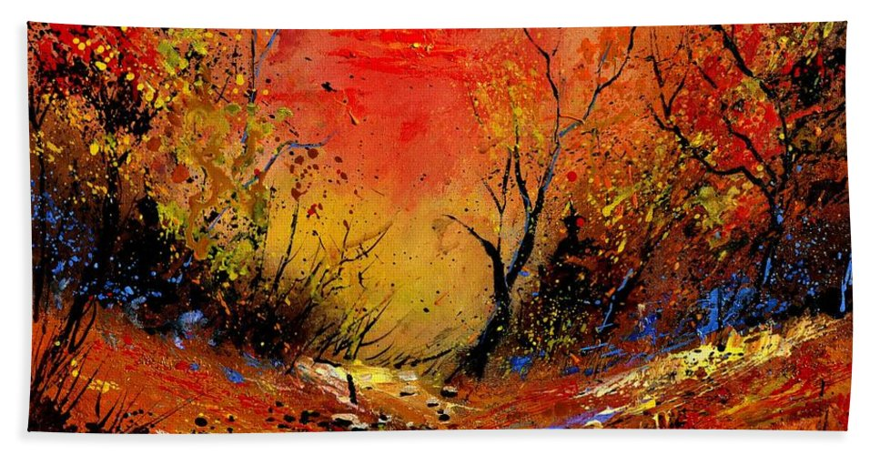 Landscape Bath Sheet featuring the painting Sunset In The Wood by Pol Ledent