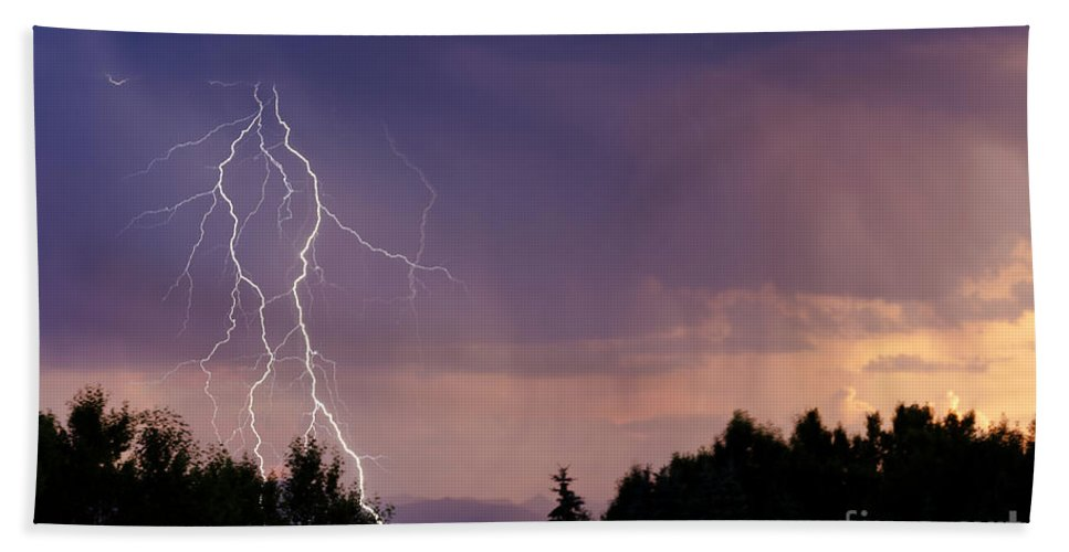 Lightning Hand Towel featuring the photograph Sunset Lightning by Dee Cresswell