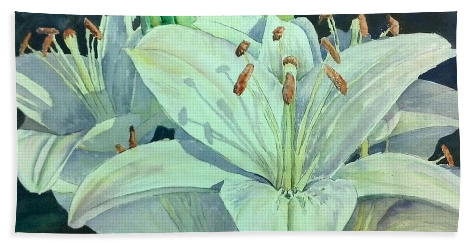 Garden Hand Towel featuring the painting Sunset Lily by Bev Morgan