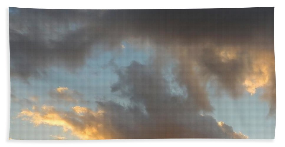 Clouds Hand Towel featuring the photograph Sunset by Maria Karalyos