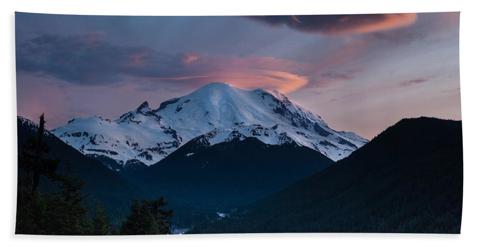 Rainier Hand Towel featuring the photograph Sunset Mount Rainier by Mike Reid