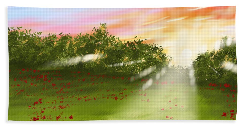 Digital Bath Sheet featuring the painting Sunset Of Spring by Veronica Minozzi