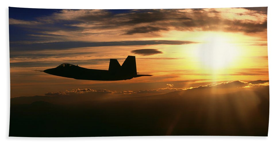 F/a-22 Raptor Hand Towel featuring the photograph Sunset Of The Raptor by Mountain Dreams