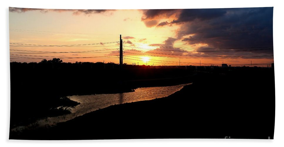 Sunset Landscape Bath Sheet featuring the photograph Sunset Of The Trinity River by Diana Mary Sharpton