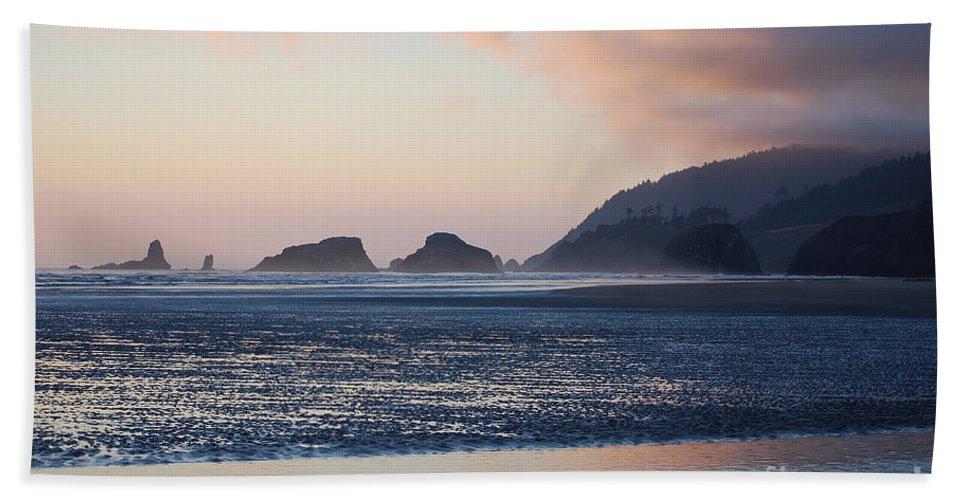 Cannon Beach Bath Sheet featuring the photograph Sunset On Cannon Beach by Sharon Elliott