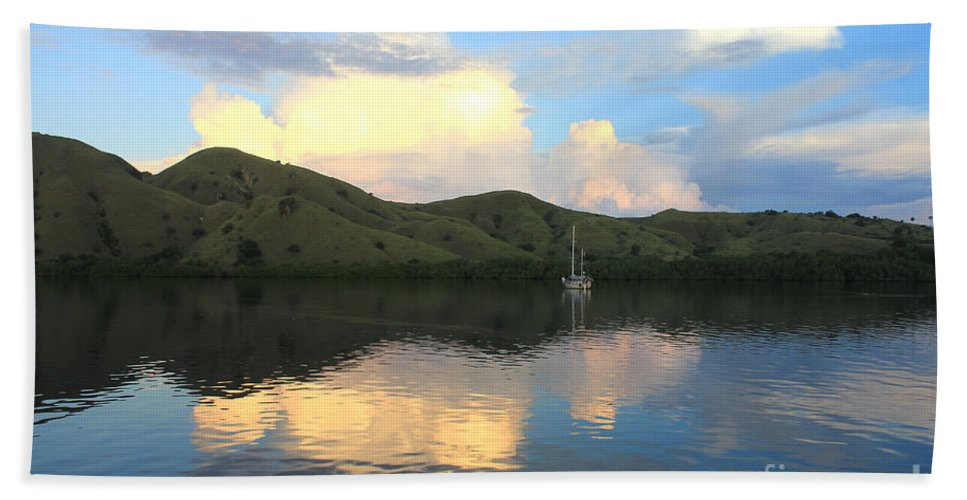 Tranquility Bath Sheet featuring the photograph Sunset On Komodo by Sergey Lukashin