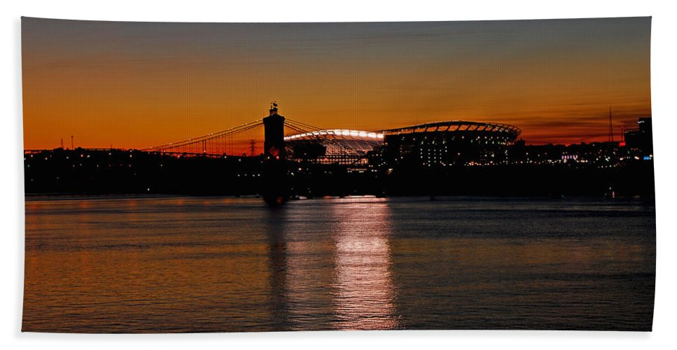 Cincinnati Hand Towel featuring the photograph Sunset On Paul Brown Stadium by Mary Carol Story