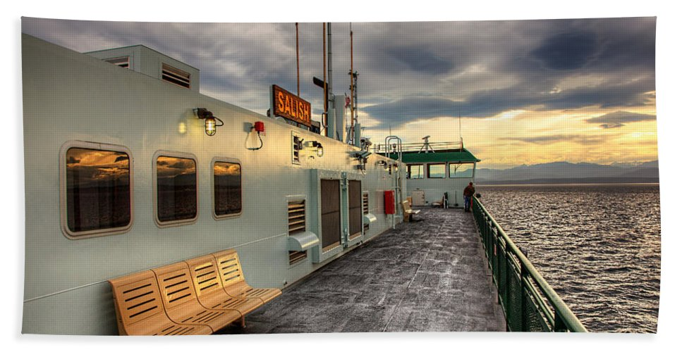 Sunset Hand Towel featuring the photograph Sunset On Salish by Ian Good