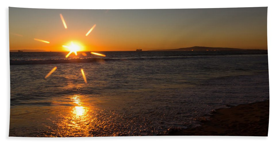 Background Bath Sheet featuring the photograph Sunset On Sunset Beach by Heidi Smith