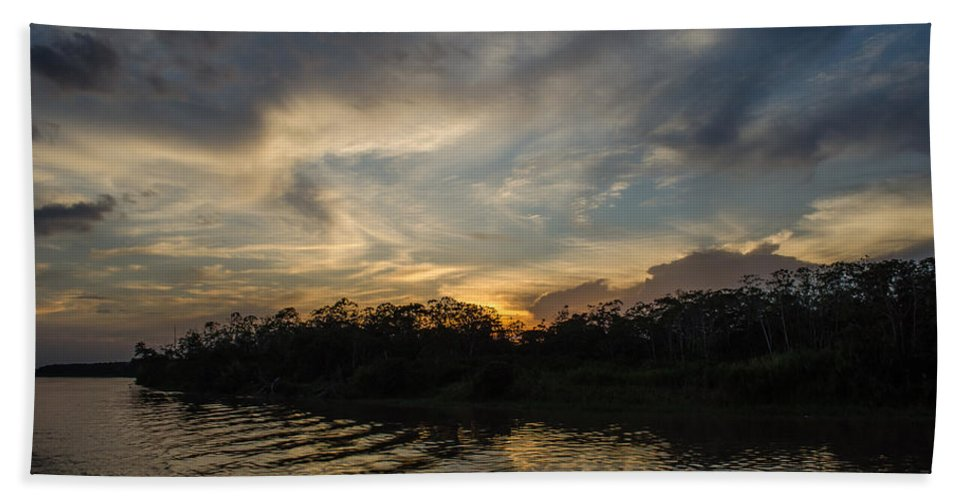 Peru Hand Towel featuring the photograph Sunset On The Amazon 1 by Allen Sheffield
