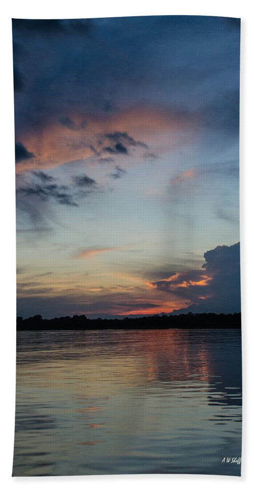 Peru Hand Towel featuring the photograph Sunset On The Amazon 3 by Allen Sheffield