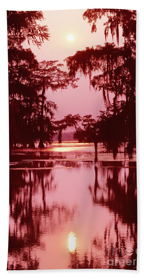 North America Bath Sheet featuring the photograph Sunset On The Bayou Atchafalaya Basin Louisiana by Dave Welling