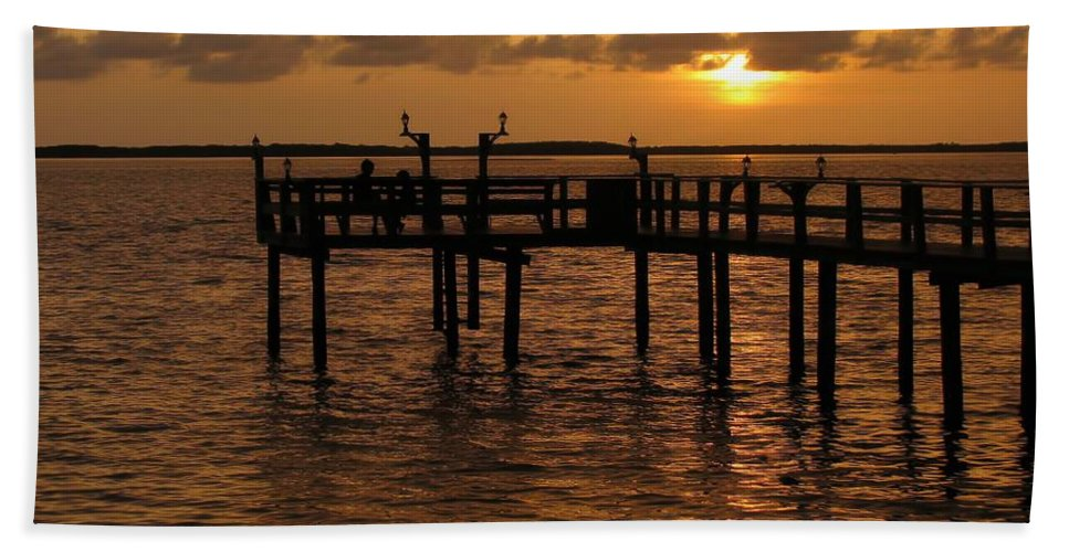Florida Bath Sheet featuring the photograph Sunset On The Dock by Peggy Hughes