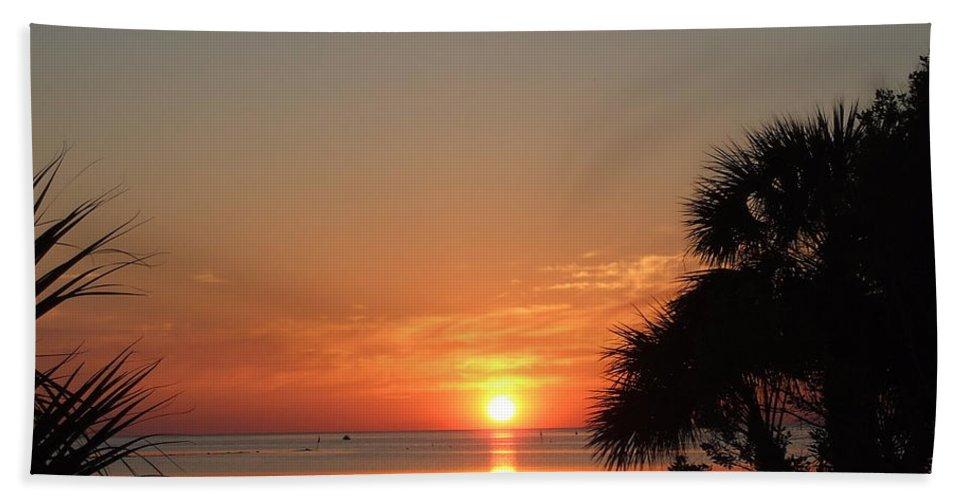 Orange Bath Sheet featuring the photograph Sunset On The Florida Gulf by Susan Wyman