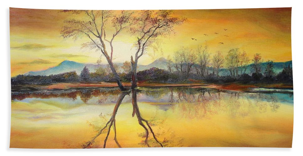 Autumn Bath Sheet featuring the painting Sunset On The Lake by Sorin Apostolescu