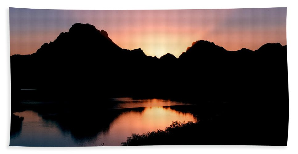 Sunset On The Oxbow Hand Towel featuring the photograph Sunset On The Oxbow by Gary Langley