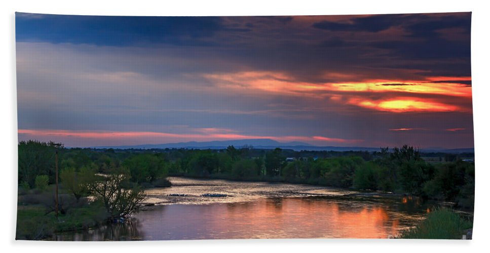 Sunset Bath Sheet featuring the photograph Sunset On The Payette River by Robert Bales