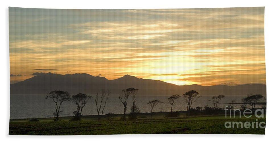 Arran Hand Towel featuring the photograph Sunset Over Arran by Liz Leyden