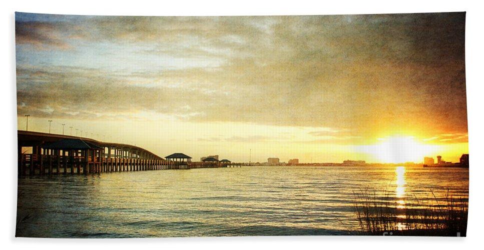 Sunset Bath Sheet featuring the photograph Sunset Over Biloxi Bay by Joan McCool