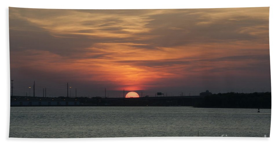 Sunset Bath Sheet featuring the photograph Sunset Over Charleston Harbor by Dale Powell
