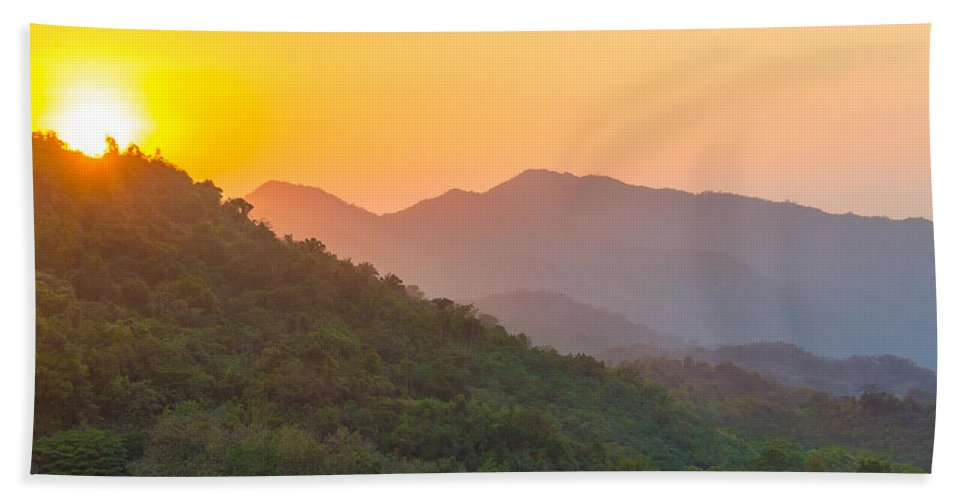 Sunset Hand Towel featuring the photograph Sunset Over Hills by Jess Kraft