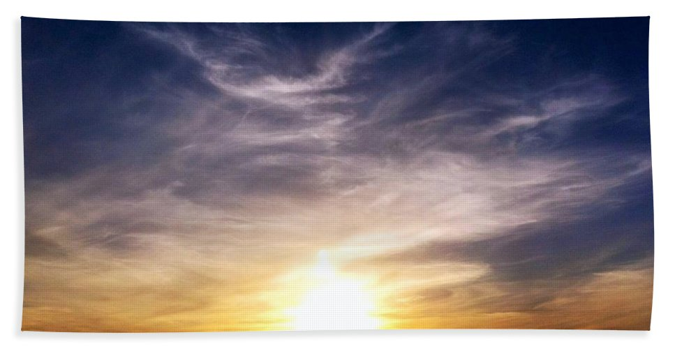 Sunset Bath Sheet featuring the photograph Sunset Over Hills With Clouds by Susan Garren