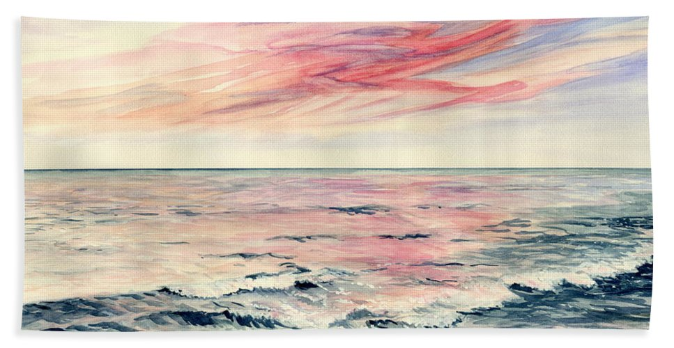 Sunset Over Indian Ocean Hand Towel featuring the painting Sunset Over Indian Ocean by Melly Terpening