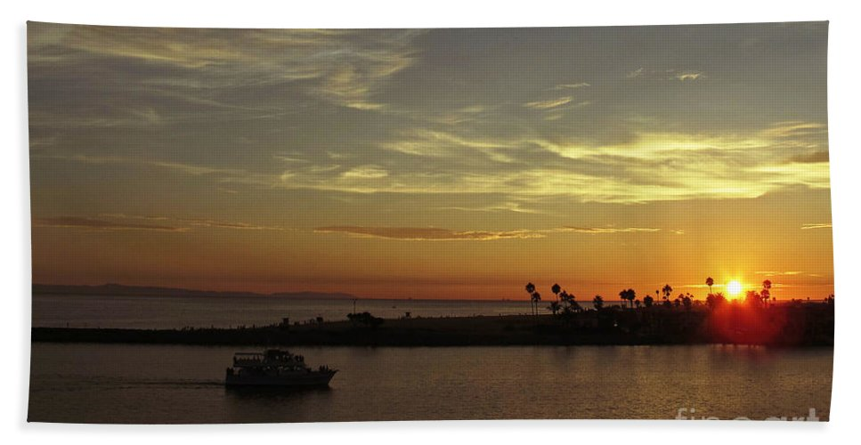 Ocean Bath Sheet featuring the photograph Sunset Over Jetty Point by Kelly Holm