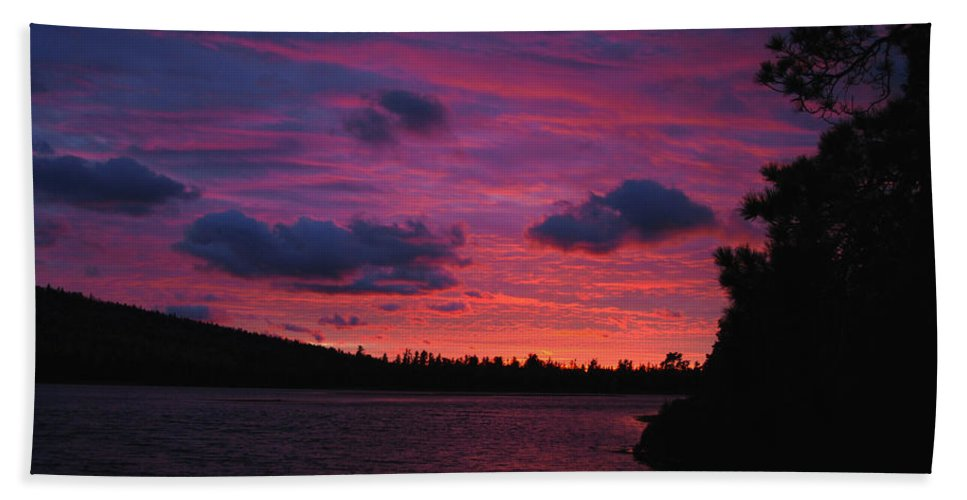 Optical Playground By Mp Ray Hand Towel featuring the photograph Sunset Over Lake Bailey by Optical Playground By MP Ray