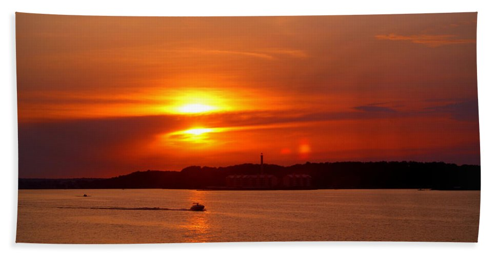 Sunset Bath Sheet featuring the photograph Sunset Over Lake Ozark by Cricket Hackmann