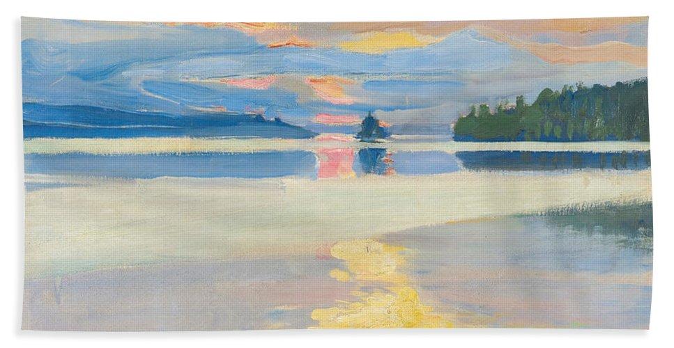 Akseli Gallen-kallela Bath Sheet featuring the painting Sunset Over Lake Ruovesi by Akseli Gallen-Kallela