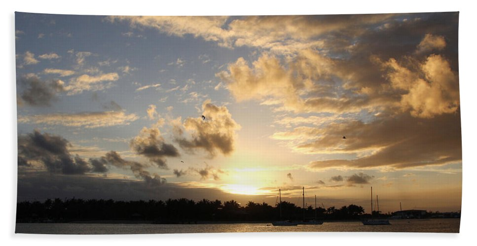 Sunset Over Peanut Island Hand Towel featuring the photograph Sunset Over Peanut Island by Nina Prommer