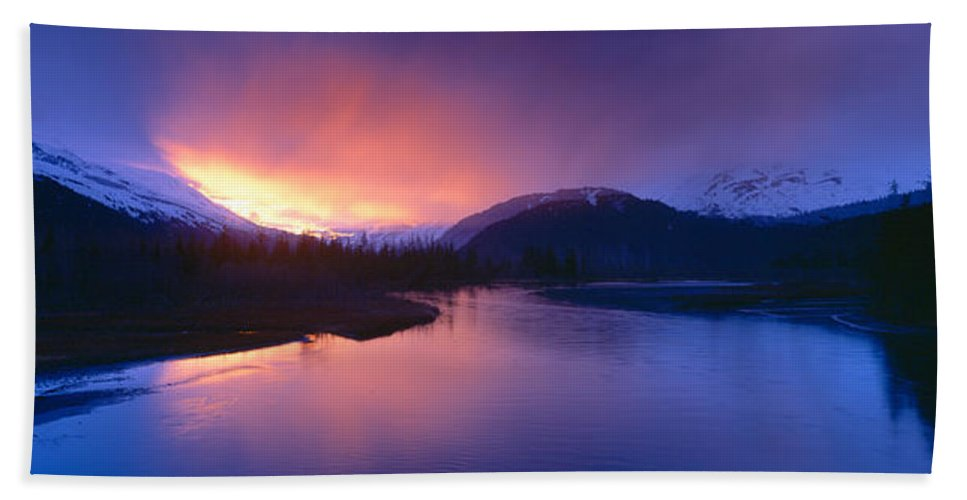 Photography Bath Sheet featuring the photograph Sunset Over Resurrection River And Exit by Panoramic Images